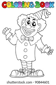 Coloring book with happy clown 7 - vector illustration.