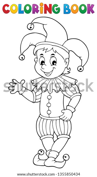 Coloring book happy jester theme 1 - eps10 vector illustration.