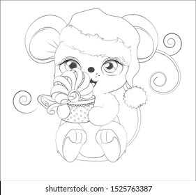 Coloring book Happy new year little mouse, in Santa cap, with gift in hands, in environment of snowflakes  Picture in hand drawing style. Mouse, rat, symbol of New year 2020. Merry Christmas, holiday