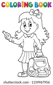 Coloring book happy pupil girl theme 3 - eps10 vector illustration.