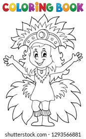 Coloring book happy samba dancer theme 1 - eps10 vector illustration.