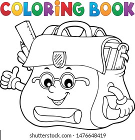 Coloring book happy schoolbag topic 2 - eps10 vector illustration.