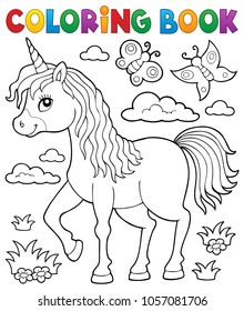 Coloring book happy unicorn topic 1 - eps10 vector illustration.