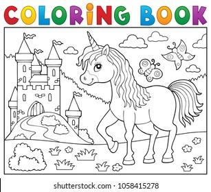 Coloring book happy unicorn topic 2 - eps10 vector illustration.