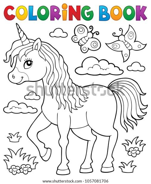 Coloring book happy unicorn topic 1 - eps10 vector illustration.
