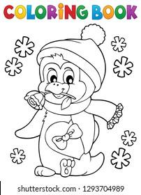 Coloring book happy Valentine penguin 1 - eps10 vector illustration.