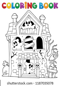Coloring book haunted house with ghosts - eps10 vector illustration.