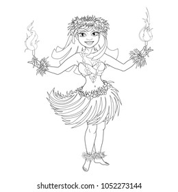 Coloring book with Hawaiian characters. Beautiful girl dancer with fiery torches in traditional Hawaiian clothes for Hula dance. Fire show. Vector image.