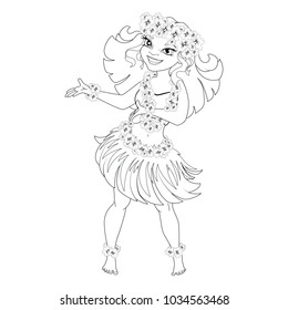 Coloring book with Hawaiian characters. A girl in Hawaiian national clothes dances Hula. Vector image.