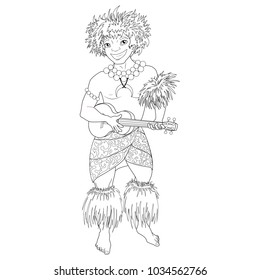 Coloring book with Hawaiian characters. A young man with a ukulele guitar in Hawaiian national clothes dances Hula. Vector image.