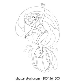 Coloring book with Hawaiian characters. A young girl is standing on a surfboard, a big wave. Vector image.