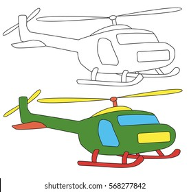 coloring book, helicopter cartoon,