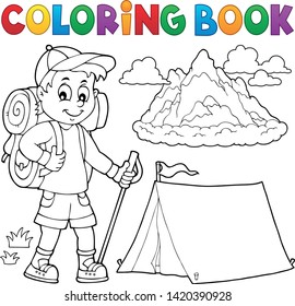 Coloring book hiker boy topic 1 - eps10 vector illustration.