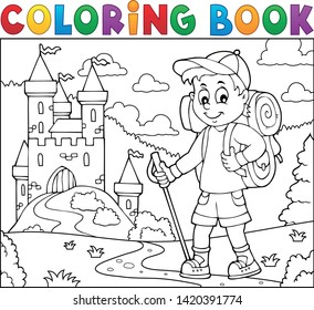 Coloring book hiker boy topic 2 - eps10 vector illustration.