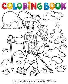 Coloring book hiker outdoor - eps10 vector illustration.