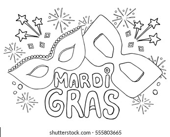 Coloring book Holiday Mardi gras shrove Tuesday