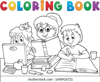Coloring book home schooling image - eps10 vector illustration.