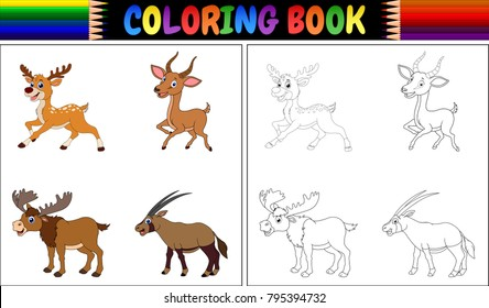 Coloring book with horned animals collection