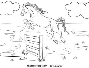 Coloring book with a horse and background