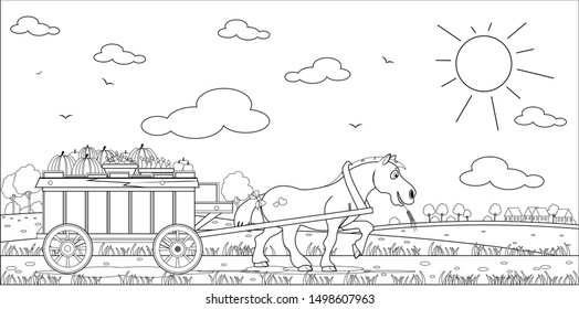 Coloring book horse drags a cart with an autumn harvest. Vector illustration.