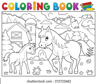 coloring book horse foal theme 260nw