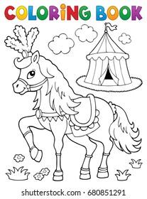 Coloring book horse near circus theme 2 - eps10 vector illustration.