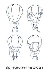 Coloring book with hot air balloon - vector illustration. Set hot air balloon