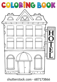 Coloring book hotel theme 1 - eps10 vector illustration.