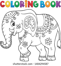 Coloring book Indian elephant topic 1 - eps10 vector illustration.