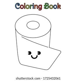 coloring book kid chibi toilet paper
