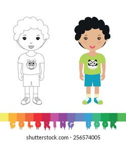 Coloring book with kid - vector illustration.