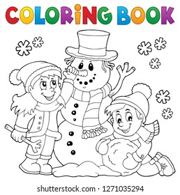 Coloring book kids building snowman 1 - eps10 vector illustration.