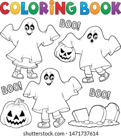 Coloring book kids in ghost costumes 1 - eps10 vector illustration.