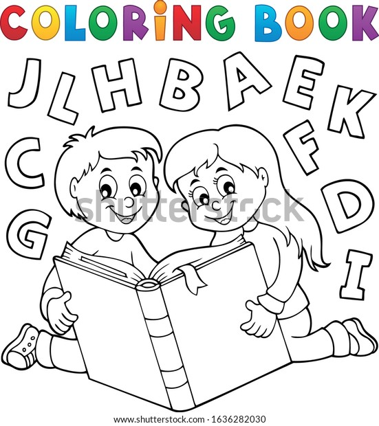 Coloring book kids and literature theme - eps10 vector illustration.
