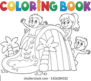 Coloring book kids on water slide 1 - eps10 vector illustration.