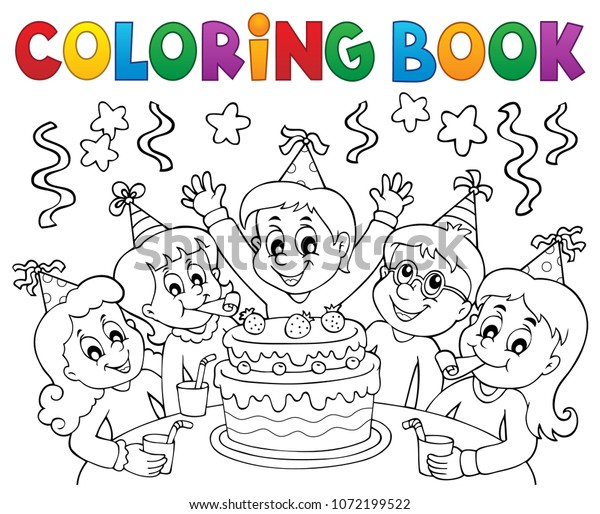 Coloring book kids party topic 1 - eps10 vector illustration.