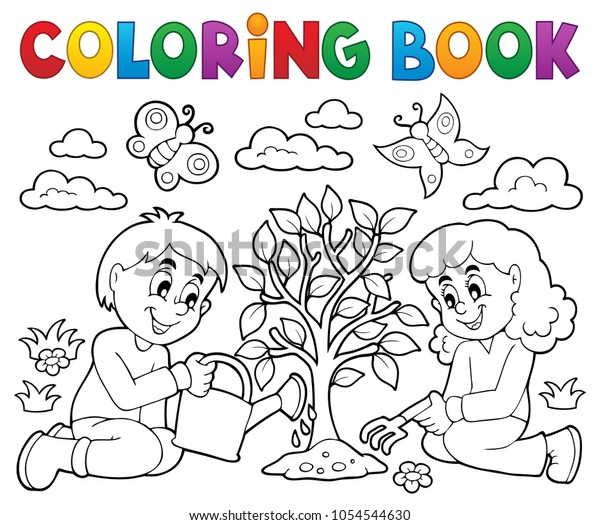 Coloring book kids planting tree - eps10 vector illustration.