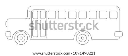 Coloring Book Kids School Bus Vintage Stock Vector Royalty Free