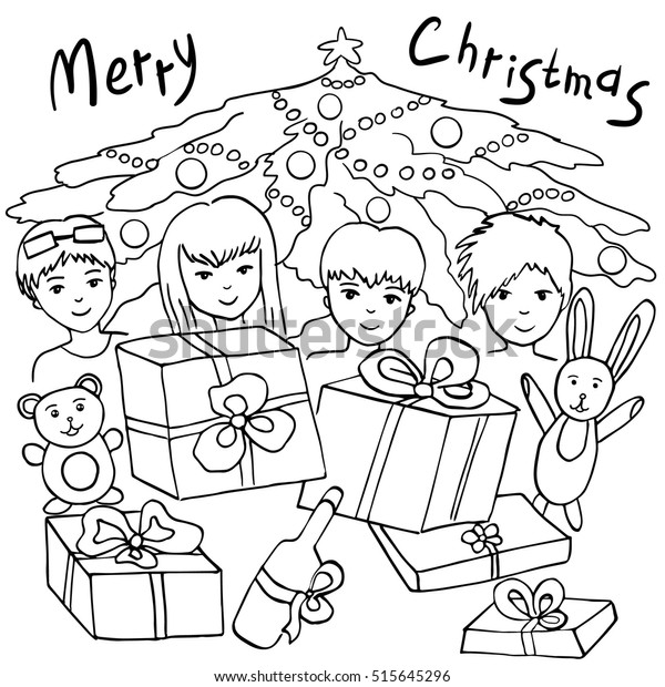 Coloring Book Kids Vector Illustration Merry Stock ...