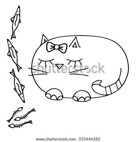 Coloring Book Kids Cat Black White Stock Vector Royalty