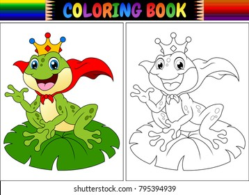 Coloring book king frog cartoon