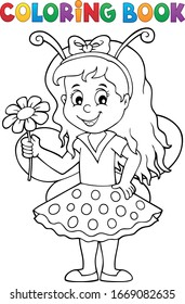 Tema de chica del libro de colorear ladybug - ilustración vector eps10.