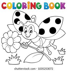 Coloring book ladybug theme 4 - eps10 vector illustration.