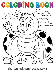 Coloring book ladybug theme 5 - eps10 vector illustration.