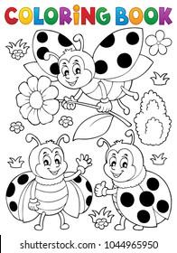 Coloring book ladybug theme 7 - eps10 vector illustration.