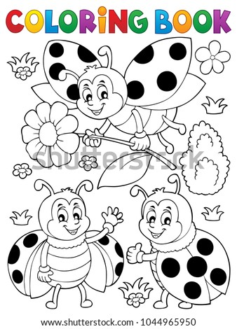 Coloring book ladybug theme 7 - eps10 vector illustration.