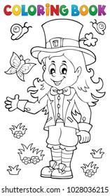 Coloring book leprechaun girl theme 1 - eps10 vector illustration.