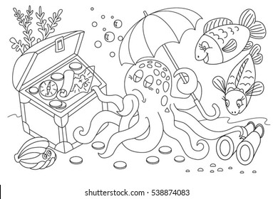 Coloring book - life in the sea. Octopus and chest