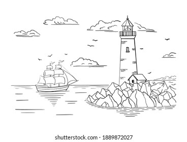 Coloring book. A lighthouse on a rocky shore and a ship on the horizon. Hand drawn sketch. Vintage style. Black and white vector illustration isolated on white background.