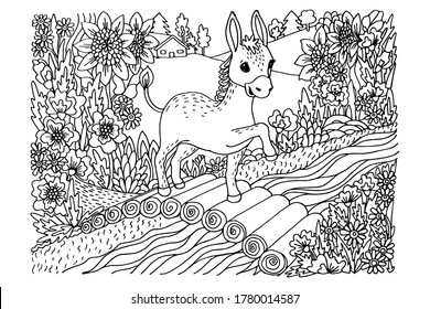 coloring book, a little donkey is walking on a log bridge, around flowers, a river, fields, black and white doodle, sketch, vector illustration